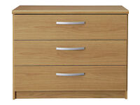 New Hallingford 3 Drawer Wide Chest - Oak Effect (NEW)