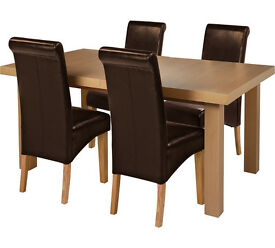 Wickham Dining Table & 4 Chairs -Oak Veneer/Choc