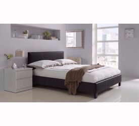 BRAND NEW DOUBLE Leather Bed With DEEP QUILT SEMI Orthopedic Mattress