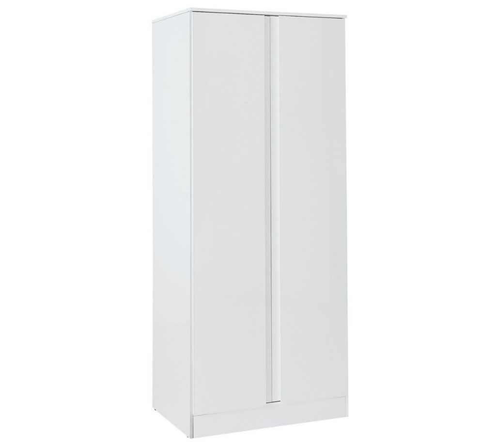 Hygena Larvik 2 Door Wardrobe - White Gloss