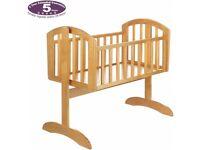 Swinging crib with mattress and bedding