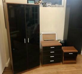 Modern high Gloss 3 piece bedroom wardrobe set Black Brown delivery available
