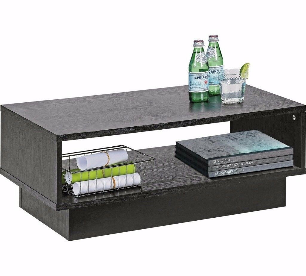 Argos home cubes 1 shelf coffee side table black ash for Black wood coffee table and end tables
