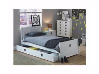 EX DISPLAY white single bed with 1 drawer. STARS design. Less 1/2 shop price delivery available.