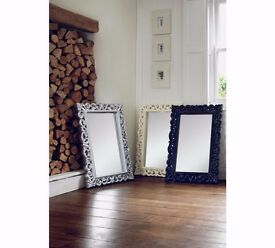 High Gloss Wall Mirror - Ivory/Cream