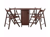 Rectangular Dining Table + 4 chairs (as new)- Chocolate Foldown butterfly