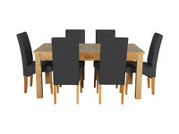 Heart of House Farnham Table and 6 Chairs -Oak Veneer Black