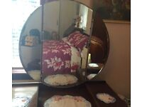 50's vintage 3 piece bedroom suite, circular mirror dressing table, wardrobe, chest of drawers