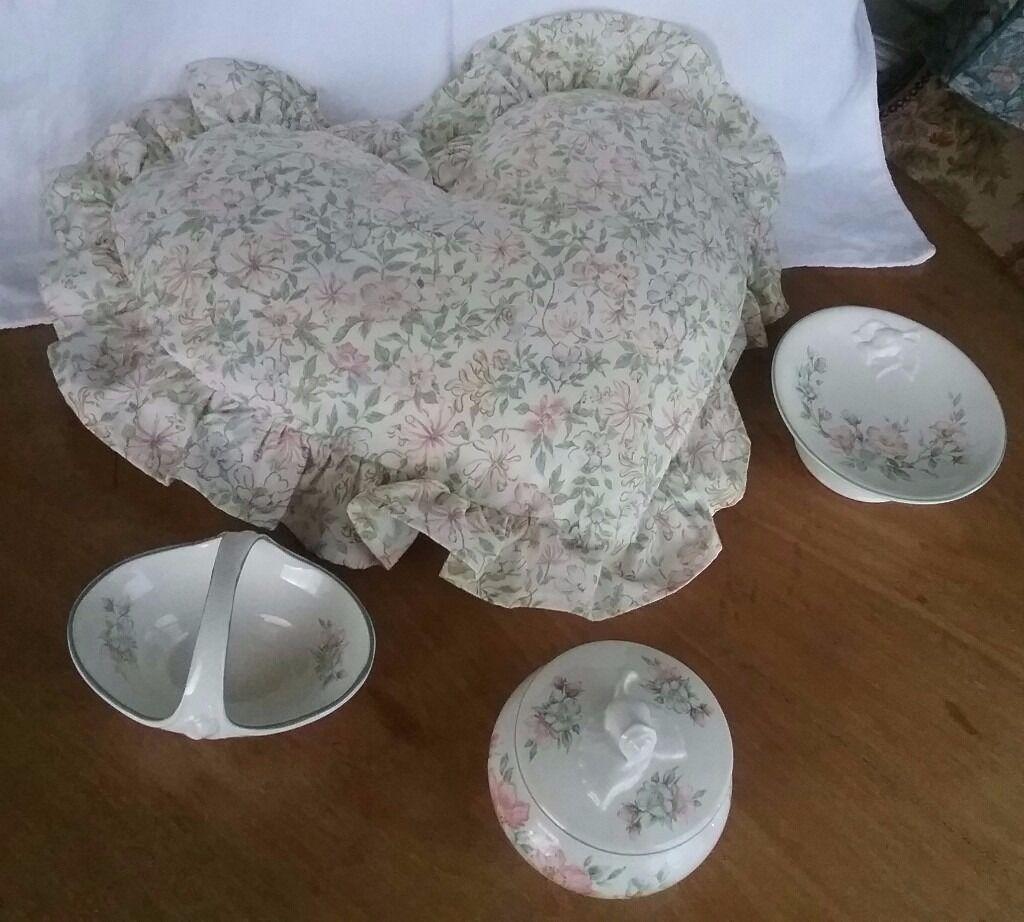Vintage Country Diary Edwardian Lady Cushion & China Trinkets