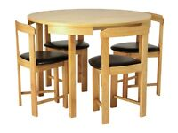 Hygena Alena Circular Solid Wood Table & 4 Chairs Brand New