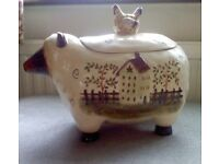 Lovely collectable Country kitchen sheep and chicken Biscuit container