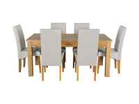 Heart of House Farnham Table and 6 Chairs - Oak Veneer Grey