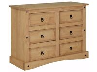 Ex - Display Puerto Rico 3 + 3 Drawer Chest - Light Pine