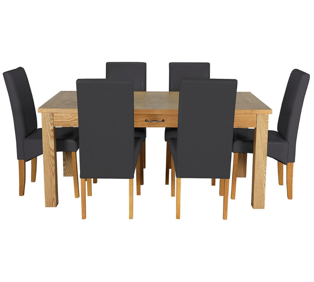 Heart of House Farnham Table and 6 Chairs -Oak Veneer/Black