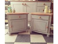 Painted pine bedside tables