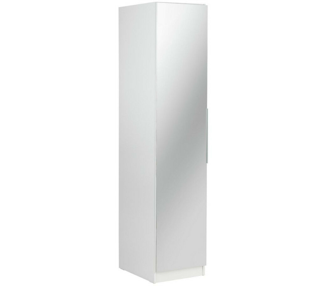 HOME Sandon Single Door Wardrobe - White & Mirrored
