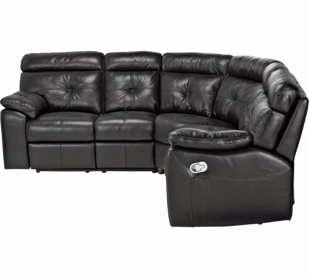 BRAND NEW SOFA CAMERON LEATHER CORNER SOFA - BLACK