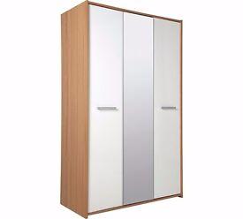Ex display Sywell 3 Doorr Mirrored Wardrobe - Oak Effect & White