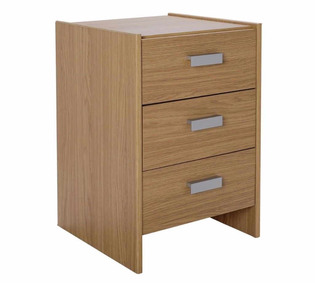 Ex display Capella 3 Drawer Bedside Chest - Oak Effect
