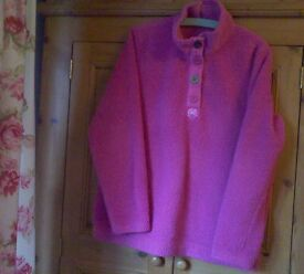 joules ladies pink fluffy long sleeved top.