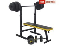Everlast weight bench, bar, plates and dumbells