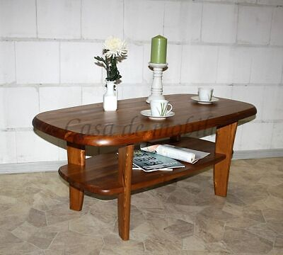 Massivholz Couchtisch 130x76 Kiefer massiv honig/kirsch Beistelltisch Sofatisch - Kirsche Wohnzimmer Beistelltisch