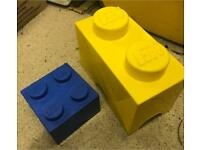 2 x genuine Lego brick storage boxes - yellow and blue