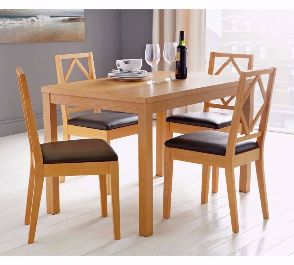 Ashby 120cm Dining Table and 4 Chairs - Oak Stain/Chocolate (NEW)