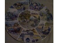 lovely collectable wedgewood plate of steam trains and heavy horses by john chapman.