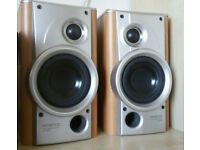 KENWOOD SPEAKERS BEECH - SILVER COVERS MATCH PAIR HI-QUALITY
