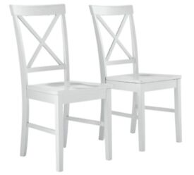 HOME Pair of White Cross Back Chairs