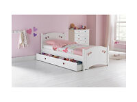 Mia Single Bed Frame with Drawer - White (NEW)