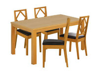 Pemberton 120 Oak Effect Table and 4 Diamon back chairs