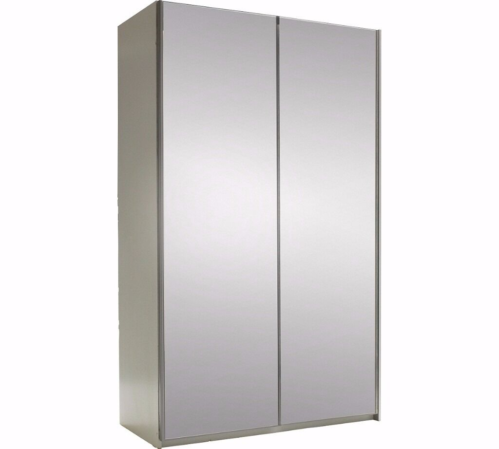 Hygena Bergen 2 Door Medium Sliding Wardrobe - Mirrored (NEW)