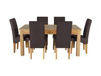 Heart of House Farnham Table and 6 Chairs - Oak Veneer Choc