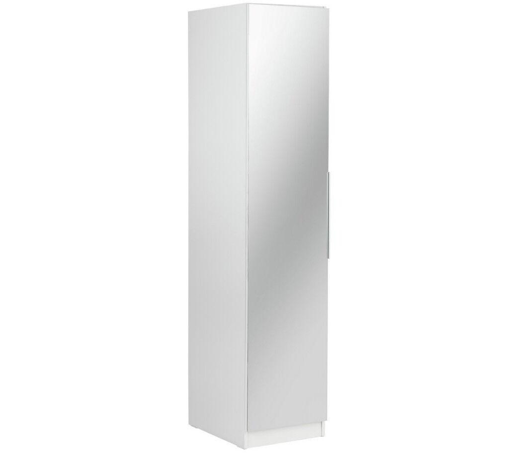 33ad38b5849 HOME Sandon Single Door Wardrobe - White   Mirrored