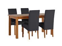 HOME Jackson Solid Wood Table & 4 Skirted Chairs - Chocolate