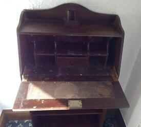 Antique dark wood writing bureau/bookcase