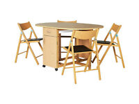 Collection Willow Dining Table and 4 Chairs-Oak Stain Beech