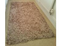 Beautiful Mixed Ribbons Dunelm Rug in Soft Gold