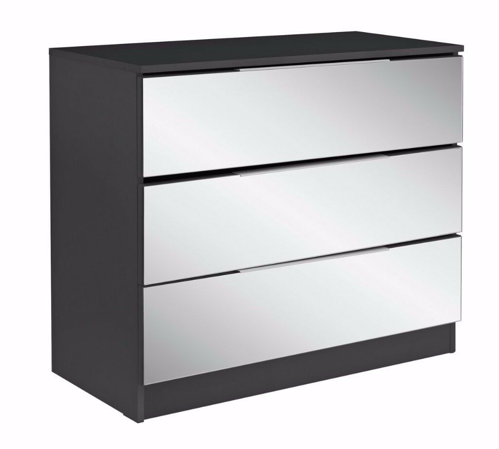 Ex display Sandon 3 Drawer Chest - Black and Mirrored