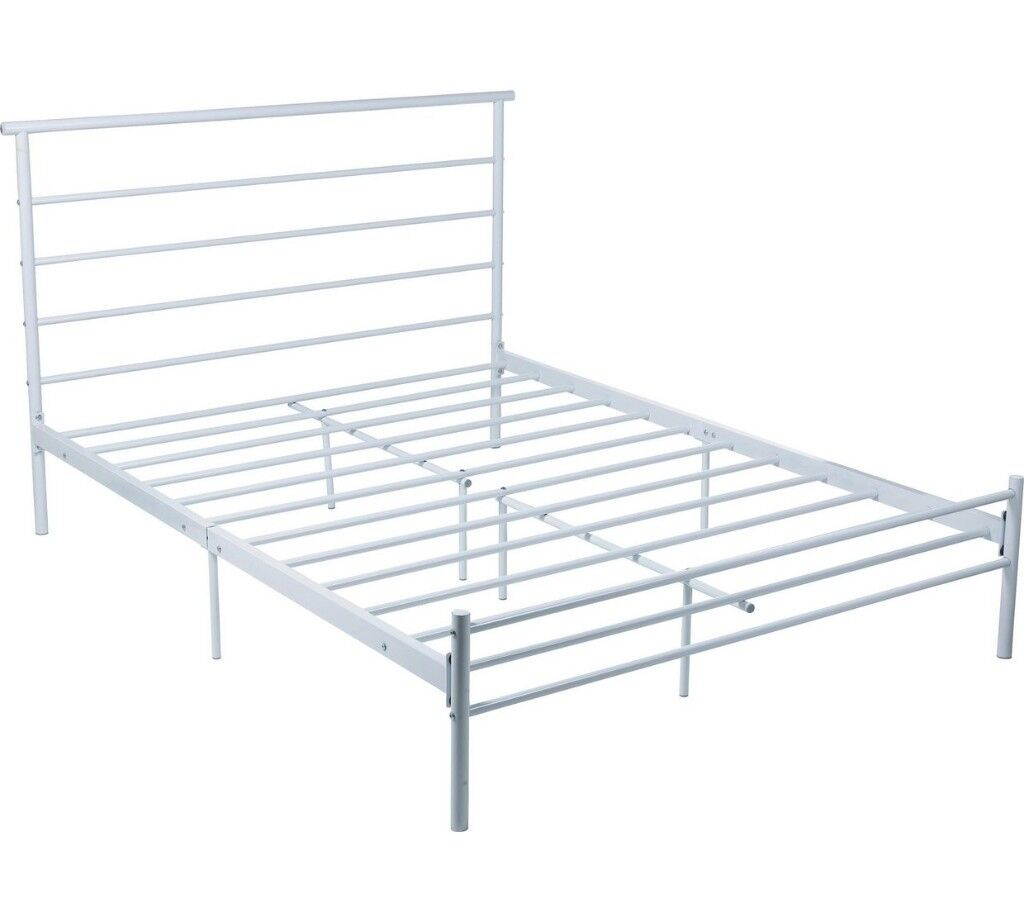 White metal (Argos Avalon) double bed frame, used but perfect ...