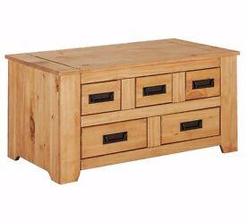 Ex Display Penton Storage 5 Drawer Coffee Table - Pine