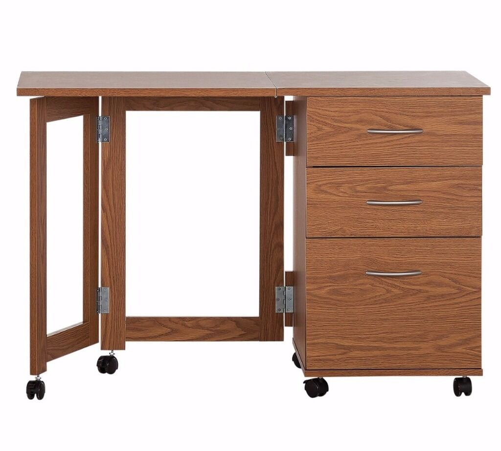 Home Dino 2 Drawer Space Saving Office Desk Oak Effect