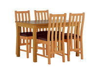 Stanford 120cm Dining Table & 4 Chairs-Oak Effect Chocolate