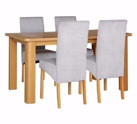 Ex display Pemberton Solid Wood Table & 4 Skirted Chairs - Pale Grey