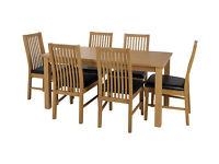 HOME Ashdon Solid Wood Table & 6 Paris Chairs - Black