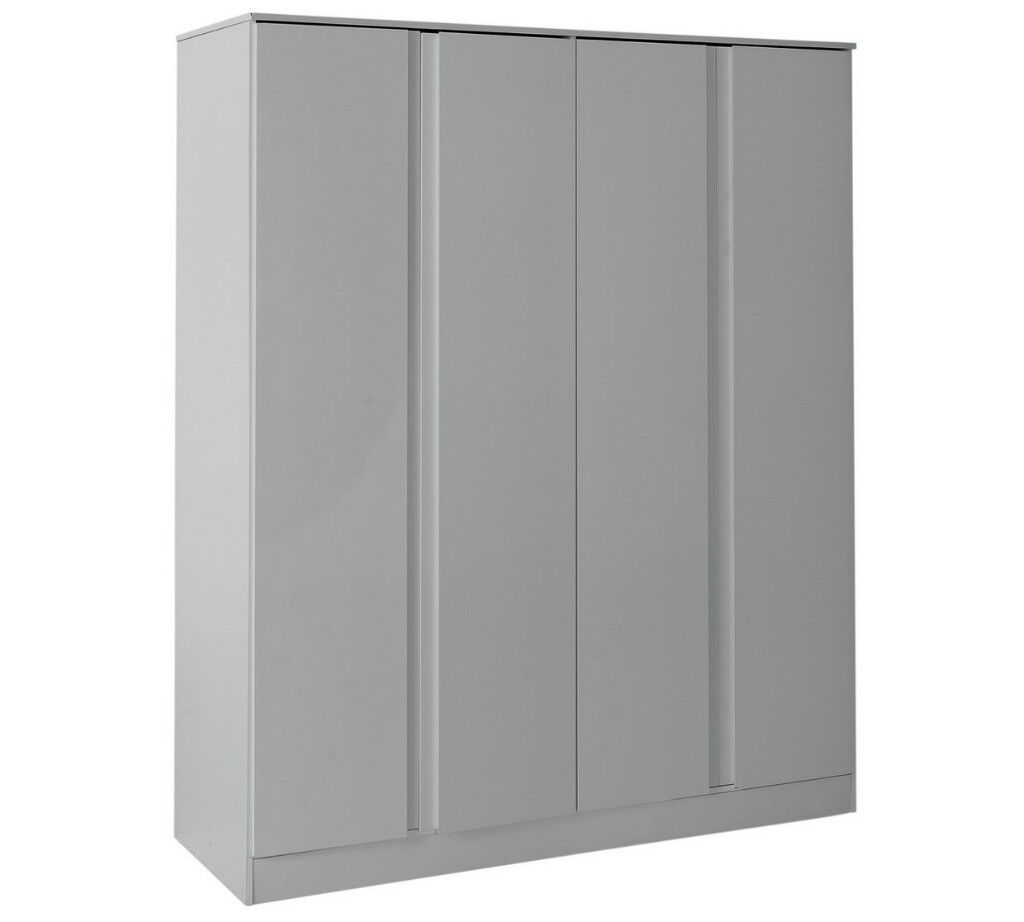 Hygena Larvik 4 Door Wardrobe - Grey Gloss
