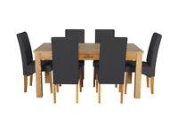 Heart of House Farnham Table and 6 Chairs -Oak Veneer/Black