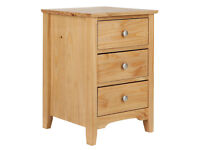 Collection Grafton 3 Drw Bedside Chest Solid Pine-Oak Stain